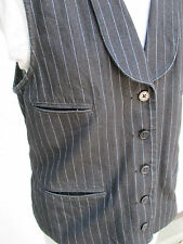 Ralph Lauren Jeans Company Black Denim Vest Large Pinstripe Button Up Adjustable
