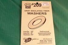 """Kadee #209 Gray Insulating Fiber Washers .010"""" Thick, Pack of 48 washers"""
