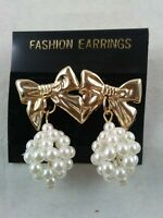 Vintage 1980's Pierced Earrings Gold Tone BOW Faux PEARL Cluster Dangle *ii
