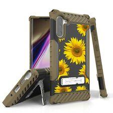 For Galaxy S10,9,8 Note 10 9 Hybrid Tri Shield Armor Hybrid Case SUNFLOWER