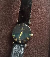 Vintage Jacques Edho Ladies Wristwatch Black Round Gold Watch