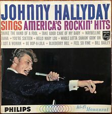 JOHNNY HALLYDAY Sings America's rockin' hits 1962 LP Philips BIEM Label BLEU