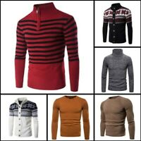 Casual Knitted Knitwear Warm Pullover Turtle Neck Winter Mens Sweater Jumper