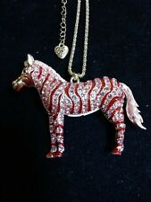 Betsey johnson Pink n Red Crystal Zebra necklace