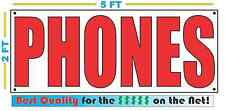 PHONES Banner Sign NEW Larger Size Best Quality for the $$$ Red & White