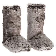 NEW Pottery Barn Faux Fur Gray Ombre Boots Booties/Slippers Womens Size XL(9-10)