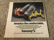 Vintage 1985 SAUCONY AMERICA Running Shoes Poster Print Ad 1980s RARE