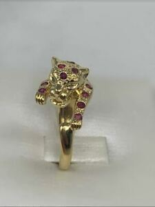 18K Yellow Gold Ruby Panther Ring Leopard Jaguar Cocktail Wrap Natural Round Cut