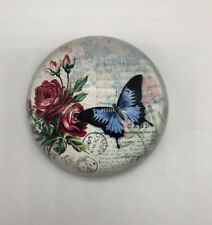 Vintage Glass Paper Weight Floral Butterfly Victorian Letter Dome Shape
