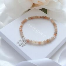 Beaded Bracelet Crystal Stacking Jewellery Sunstone Sterling Silver Lotus Flower