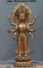 """50"""" Huge Tibet Sacred Bronze gilt 8 Arms Goddess Kwan-yin Guanyin Buddha Statue"""