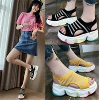 Womens Roman Gladiator Sandals High Platform Open Toe Summer Beach Travel Shoes