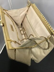 Vintage Judith Leiber Reptile Lizard Leather Cream Color Gold Trim With Stones