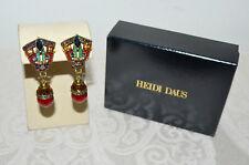 "Drop Earrings Clip on Red Multi New $100 Heidi Daus ""Gilded Glory"" Crystal"