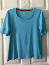Jones New York Sport Women Blue Top Blouse Size Large Short Sleeves 100% Cotton