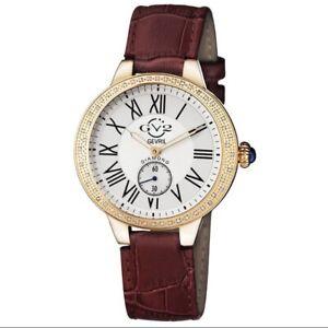 GV2 by Gevril Women's 9104 Astor Diamonds Burgundy/White Leather Watch #167/500