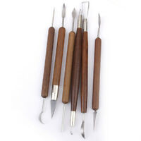 Pottery Clay Sculpture Carving Modeling Tools Wooden Handle Set of 6pcs V2V3