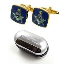 Regali massonici Uomo Massonico Blu & Oro Gemelli & inciso scatola regalo