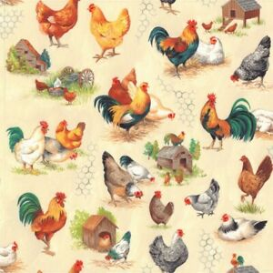 Chicken roosters farm cotton fabric dressmaking curtains quilting cushions