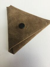 Leather Brown Suede Earbud Earphone Case Pouch With Popper Real Leather UK