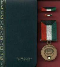 Kuwait Liberation Award medal with ribbon bar lapel pin complete cased set