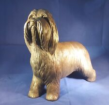 Bearded Collie large standing Cold cast bronze sculpture