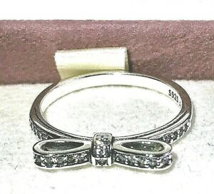 PANDORA DELICATE BOW RING 190906CZ ,S925 ALE, STERLING SILVER, ALL SIZES