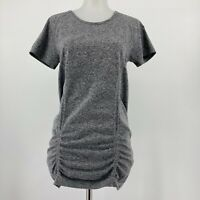 Athleta Top Fastest Track Athletic Tee Short Sleeve Ruched Solid Gray Sz Medium