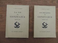 Soulié De Morant – La vie et les préceptes de Confucius – 2 tomes/2 – 1929 – TBE