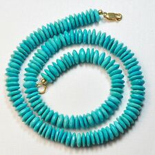 """9mm-10mm Sleeping Beauty Turquoise Faceted German Cut Rondelle Beads17"""" Strand"""