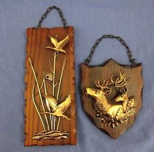 2 Vintage Wall Hanging Wood plaque 3D  Duck Deer Hunting Cabin Decor W. Germany