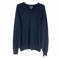 Brooks Brothers Mens Sz XL Black Scotland 3 Ply Cashmere V Neck Sweater *Flawed*