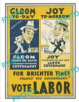 OLD POSTCARD SIZE PHOTO OF AUSTRALIAN LABOR PARTY POLITICAL POSTER c1930
