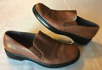 Naturalizer Light Brown Leather Comfort Loafer Flats Stiching Accents Size 9.5 M