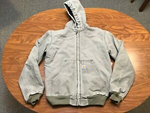 MENS USED CARHARTT LIGHT BROWN SUN FADED ZIP UP HOODED JACKET SIZE SMALL