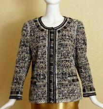 RENA LANGE - Black & White Beaded Cotton Jacket, Size 14