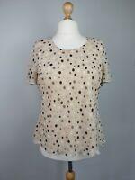 VINTAGE JACQUES VERT Beige Polka Dot Short Sleeve Top Size 18 Fully Lined Should