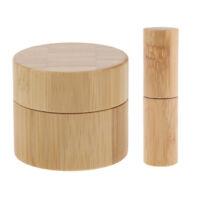 Bamboo Refillable Empty Roller Ball Bottle + Wood Lip Balm Jar Holder Set