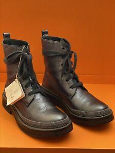 Brunello Cucinelli Combat Boots Shoes Graphite Monili Lace Up Size 38 $1995
