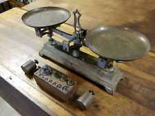 Antique Tools BALANCE SCALE & Counterweights Cast Brass Opium Scale ☆ENGLAND