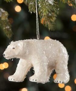 Arctic White Glitter Polar Bear Paper Mache Christmas Ornament