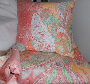 STUNNING Ralph Lauren JAMAICA Paisley Coral Throw Pillow