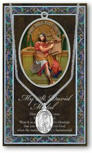 St. David Medal Necklace with Embossed Prayer Pamphlet and Two Free Holy Cards