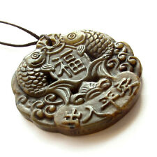 Old Jade Gem Amulet Pendant Happy Lucky Word Fishes