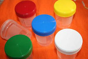 25 x Schraubbecher 120ml skaliert Schraubdosen Becher Urinbecher farbig  120 ml