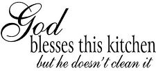 GOD BLESSES THIS KITCHEN Vinyl Wall Art Decal Decor Lettering Words Quote