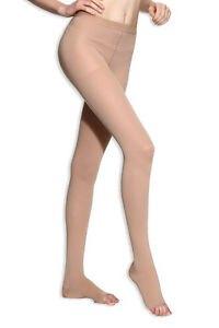 Sheer Compression Stockings Pantyhose Therapeutic Support 20-30 mmHg Open Toe