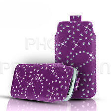 DIAMOND BLING LEATHER PULL TAB CASE COVER POUCH FOR VARIOUS BLACKBERRY PHONES