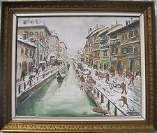 Giuseppe VIOLA (Milano 1933-2010) NAVIGLIO PAVESE grande Olio su tela cm 80x100