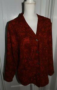Women's Size X Red W/Metallic Paisley Pattern Jacket/Blazer-C.J Banks